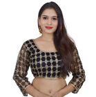 Areum Black sequins Net 3/4 Sleeves  padded Readymade Saree Blouse PS039-BLACK