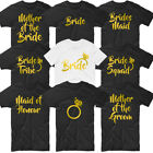 HEN PARTY BRIDE Tshirt Tee Top Bride To Be Tribe Squad Wedding Ring Hen Do Gold