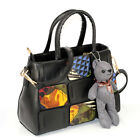 Show Story Black Bear Contrast-Stitching Top-handle Slouchy Hobo Shoulder Bag