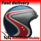 Bell Custom 500 Airtrix Heritage Blue Red Retro Open Face Helmet