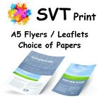 Printed Flyers Full Colour A5. Also Available as A3, A4, A6, DL. Choice of Paper