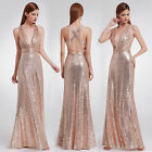 New Long Women V-neck Sequins Formal Celebrity Party Dress Ball Prom Gown 07109