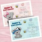 Personalised Baby Shower Invitations Bear Design - boy or girl free envelopes
