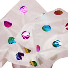 """Metallic Rainbow POLKA DOTS White Tissue Paper for Gift Wrapping 15""""x20"""" Sheets"""