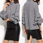 S-5XL Women Lantern Sleeve Tops Plaid Check Checkered Shirt Oversized Blouse New