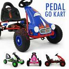 RIDE ON RACING PEDAL KIDS PUSH GO KART RUBBER TYRES ADJUSTABLE SEAT HAND BRAKE