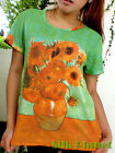VINCENT VAN GOGH Sunflowers Flower T-SHIRT TOP MODERN FINE ART PRINT PAINTING
