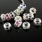 Hot Charms Crystal Silver Plated Loose Spacer Beads Fits DIY European Bracelets