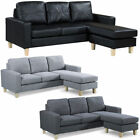 L Shaped Corner Sofa Settee Grey Fabric Black Faux Leather Modern Small 3 Seater