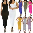 New Sleeveless Round Crew Neck Rayon Jersey Fitted Long Dress Size S M L GT9792