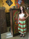 Bohemian Long Skirt Elephant Print A-line Cotton Blend Boho Gypsy Hippy Skirts