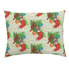Christmas Beagle Greenery Stars Ribbon Dogs Pets Pillow Sham by Roostery