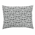 Smuk Ww2 Avation Aeroplanes Grey Retro Greyblack Pillow Sham by Roostery