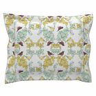 Birds Leaves Canary Robin White Pale Mint Pillow Sham by Roostery