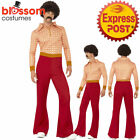CA156 70s Authentic Guy Hippie Dance Disco Retro Fancy Dress Costume with Marks