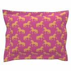 Friesian Horse Orange P Horse Fabric Fresian Orange Pink Pillow Sham by Roostery