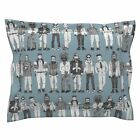 Scrummy Men Beards Fashion Hipster Plaid Illustration Pillow Sham by Roostery