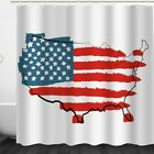 Multi-size American Flag Map Pattern Pattern Shower Curtain Polyeste