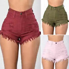 US Women High Waisted Washed Ripped Hole Short Mini Jeans Pa