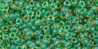 TOHO 11/0 Seed Beads,  #242, Inside-Color Luster Jonquil/Emerald-Lined