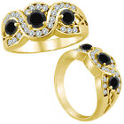 1 Ct Black Diamond Three Stone Channel Engagement Wedding Ring 14K Yellow Gold
