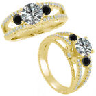 0.75 Carat G-H & Black Diamond Three Stone Eternity Bridal Ring 14K Yellow Gold