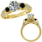 1.25 Carat G-H & Black Diamond Three Stone Wedding Promise Ring 14K Yellow Gold