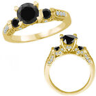1.5 Carat Black Diamond 3 Stone Fancy Engagement Promise Ring 14K Yellow Gold