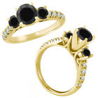 1.5 Ct Black Diamond 3 Three Stone Eternity Wedding Bridal Ring 14K Yellow Gold