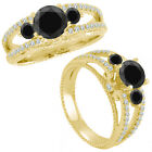 1 Ct Black Diamond Three Stone Eternity Wedding Promise Ring 14K Yellow Gold