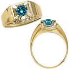 0.50 Carat Blue Diamond Solitaire Mens Man Engagement Fancy Ring 14K Yellow Gold