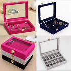 Velvet Spaced Jewelry Display Organizer Case Earring Cosmetic Storage Boxes