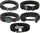 Black 550 Military Paracord Bracelet Emergency Survival Campers Hunters Gear