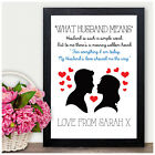 Personalised 1st First Wedding Anniversary Gifts for Husband Him Birthday Gifts
