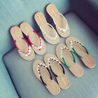 WOMENS LADIES TOE BOW DIAMANTE JELLY SUMMER FLAT FLIP FLOP THONG SANDALS SIZES