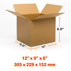 Single Wall Brown Corrugated Cardboard Postal Mailing Box 12x9x6 Inches
