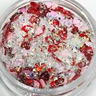 Pink Red Chunky Heart Glitter Mix Nails Solvent Resistant | Nail Art Design USA