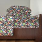 Buttons Sewing Supplies Craft Colorful Organic Sateen Sheet Set by Roostery