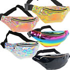 Iridescent Holographic Fanny Pack Shiny Waist Bag Silver Gold Pink Rainbow Black