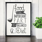 Diet Motivation Quote - Food Important Balanced Diet - Typography Poster Print