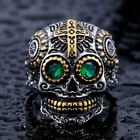 Men's Stainless Steel Skull w/Green Eyes Biker Cross Religious Ring- Size 8-13