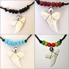 REAL TIGER SHARK TOOTH PENDANT ADJUST CORD NECKLACE BLACK BEADS boy girl surfer