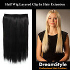 Clip In Straight Hair Extensions Layered Half Head Pieces As Human Hair