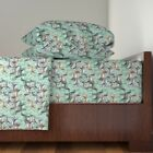 Hunting Dog Stencil Grass Setters English Organic Sateen Sheet Set by Roostery
