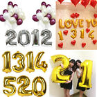 1X 40cm Cute Silver Numbers Letters Foil Balloons Birthday Decoration Ballon