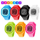 Women Waterproof Color LED Digital Sports Watch Girls Silicone Square Wristwatch