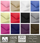Luxury 100% Egyptian Cotton Fitted Sheet Flat Sheets 200TC Single Double King