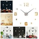 Frameless Big DIY Art Wall Clock Creative Watch 3D Home Stickers Large Number JG