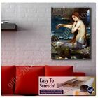 A Mermaid by Waterhouse | Canvas (Rolled) | Wall art giclee painting HD