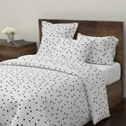 Minimal Retro Dots Grid Square Simple Leggings Sateen Duvet Cover by Roostery